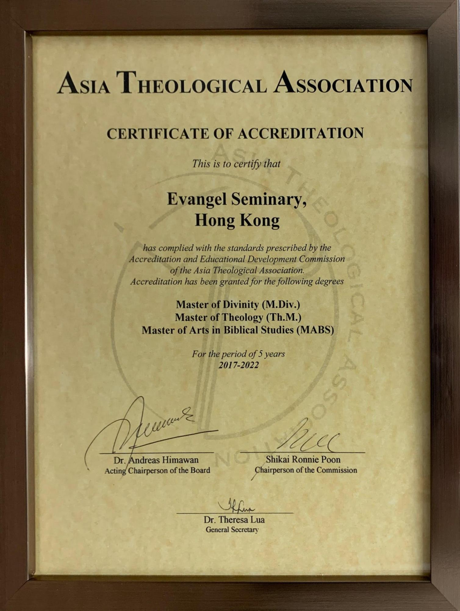 Asia Theological Association Cert